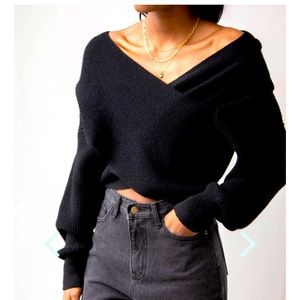 Oak and Fort black crossover sweater NWT SIZE M